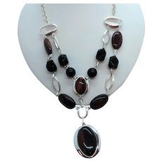 Layered Brown Black Oval Shaped Accents  Silvertone  Statement Necklace