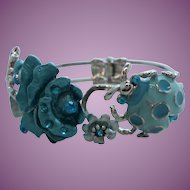 Teal Green Dimensional Rhinestone Enameled Ladybug Flower Bracelet