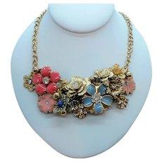 Pink Blue Rhinestone Enameled Dangle Bauble Goldtone Metal Necklace