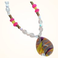 Pink Clear Yellow Crystal Glass Beaded Necklace Large Spiral Glass Drop