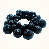 Faceted Black Lucite Beaded Cha-Cha Style Stretchy Bracelet