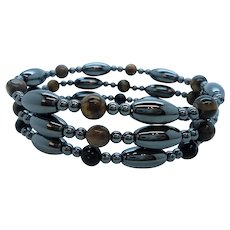 Dainty Stretchy Genuine Hematite Beaded Bracelets Set of Three
