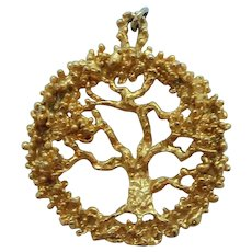 Large Dimensional Textured Goldtone Abstract Tree Of Life Pendant