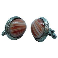Large Silvertone Metal Oval Red Orange White Glass Cufflinks