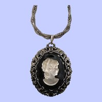 Large Satin Glass Cameo Black Glass Pendant Silvertone Necklace