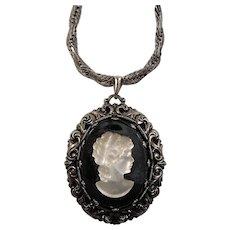 Large Satin Glass Cameo Black Glass Pendant Silvertone Necklace