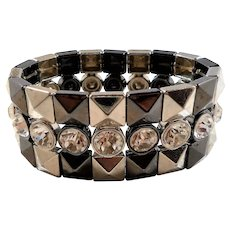 Large Geometric Designs Metallic  Metal Clear Rhinestones Stretchy Statement Bracelet