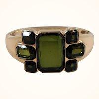 Geometric Design Olive Green Faceted Unfoiled Glass Hinged Bangle Bracelet