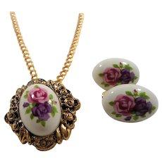 Avon 1993 Victorian Romance Ceramic Rose Pendant Necklace Pierced Earring Set