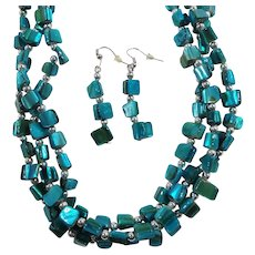 Teal Blue Green Dyed Mother of  Pearl Beaded Necklace Dangle Pierced Earring Set