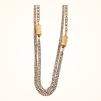 Monet Long Single Strand Goldtone Metal Cylinder beads Chain Necklace