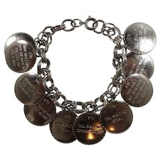 Ten Commandments Round Silvertone Metal Dangle Charm Bracelet