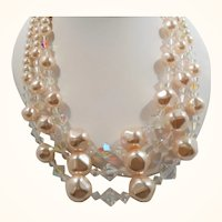 Triple Strand Champagne Imitation Pearls Crystal Beaded Necklace
