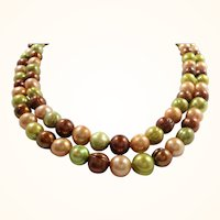 Long Strand Green Autumn Fall Colors  Glass Imitation Pearls Necklace