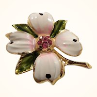 Dimensional Enameled White Pink Rhinestone Flower Brooch