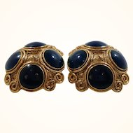 Orena Paris Large Domed Goldtone  Blue Cabs Clip on Earrings