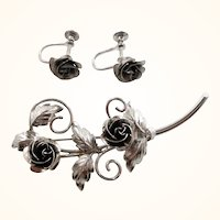 Bond Boyd Sterling Silver Roses Brooch Screw On Earrings Set