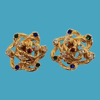 Dimensional Gemstone Colored Rhinestones Goldtone Clip On Earrings
