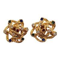 Dimensional Gemstone Colored Rhinestones Goldtone Clip On Earrings