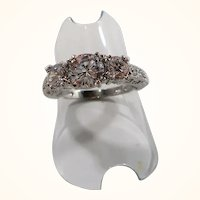 10K White Gold Three Stone Moissonite Engagement Ring