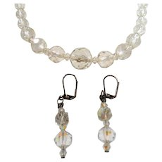 Round Faceted Crystal Beaded Necklace Dangle Pierced Earrings Set