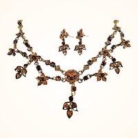 Vintage Goldtone Rhinestone Choker Necklace Dangle Pierced Earring Set