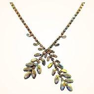 Goldtone Metal Clear Aurora  Rhinestone Dangle Choker Necklace