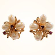 14K Genuine Cultured Pearls Clip Earrings Genuine Ruby Accents