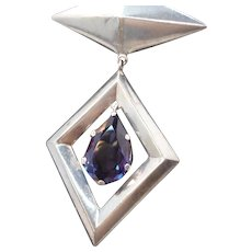 Geometric Los Ballesteros Taxco Sterling Silver Alexandrite Dangle Brooch