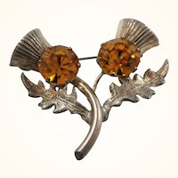 WBS Scottish Sterling Silver Rhinestone Double Thistle Brooch