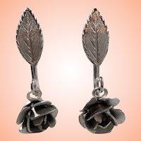 Bond Boyd Sterling Dangle Roses Adjustable Screw On Earrings