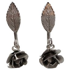 Bond Boyd Sterling Dangle Roses Adjustable Screw On Earrings