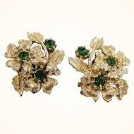 Vintage Goldtone Metal Floral Green Rhinestone Clip On Earrings