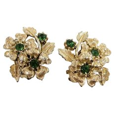 Vintage Goldtone Metal Floral Green Rhinestone Clip On Earrings