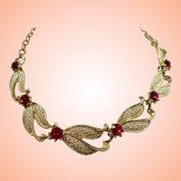 Dimensional Textured Goldtone Orange Rhinestone Choker Necklace