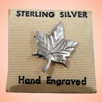 Sterling Silver Canadian Maple Leaf Tie Tac  MOC