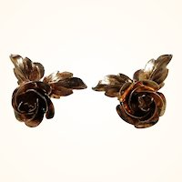 Bond Boyd Dimensional Goldwash Sterling Roses Screw On Earrings