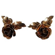 Bond Boyd Dimensional Goldwash Sterling Roses Screw On Earrings