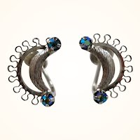 Bond Boyd Sterling Silver Crescent Shaped Blue Rhinestone Screw On Earrings