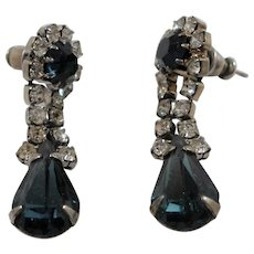 Dangle Blue Clear Rhinestone Pierced Earrings