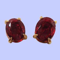 Large Oval Shaped Red Faceted Glass Open Back Clip On Earrings