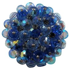 Vintage Round Faceted Blue Aurora Crystal Beaded Brooch
