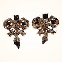 Dangle Rhinestone Goldtone Metal Bows Adjustable Screw On Earrings