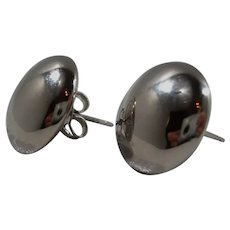 Round Button Style Shiny Sterling Silver Pierced Earrings