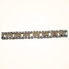 Baguettes & Round Clear Rhinetones Silvertone Metal Bracelet