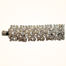 Silvertone Metal Articulated Links Clear Rhinestone Bracelet As Found