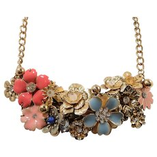 Pink Blue Rhinestone Enameled Dangle Flowers Bauble Goldtone Metal Necklace