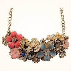 Pink Blue Rhinestone Enameled Dangle Flowers Bauble Goldtone Metal Necklace