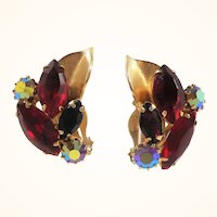 Weiss Dimensional Red Rhinestone Goldtone Clip On Earrings