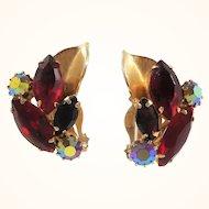 Weiss Dimensional Red Rhinestone Goldtone Clip On Earrings